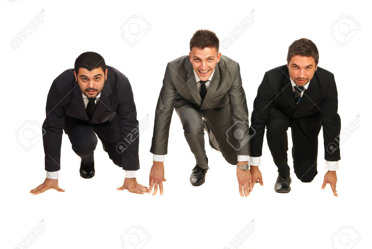 Three business men in a line being ready for start isolated on white background Stock Photo - 17034163