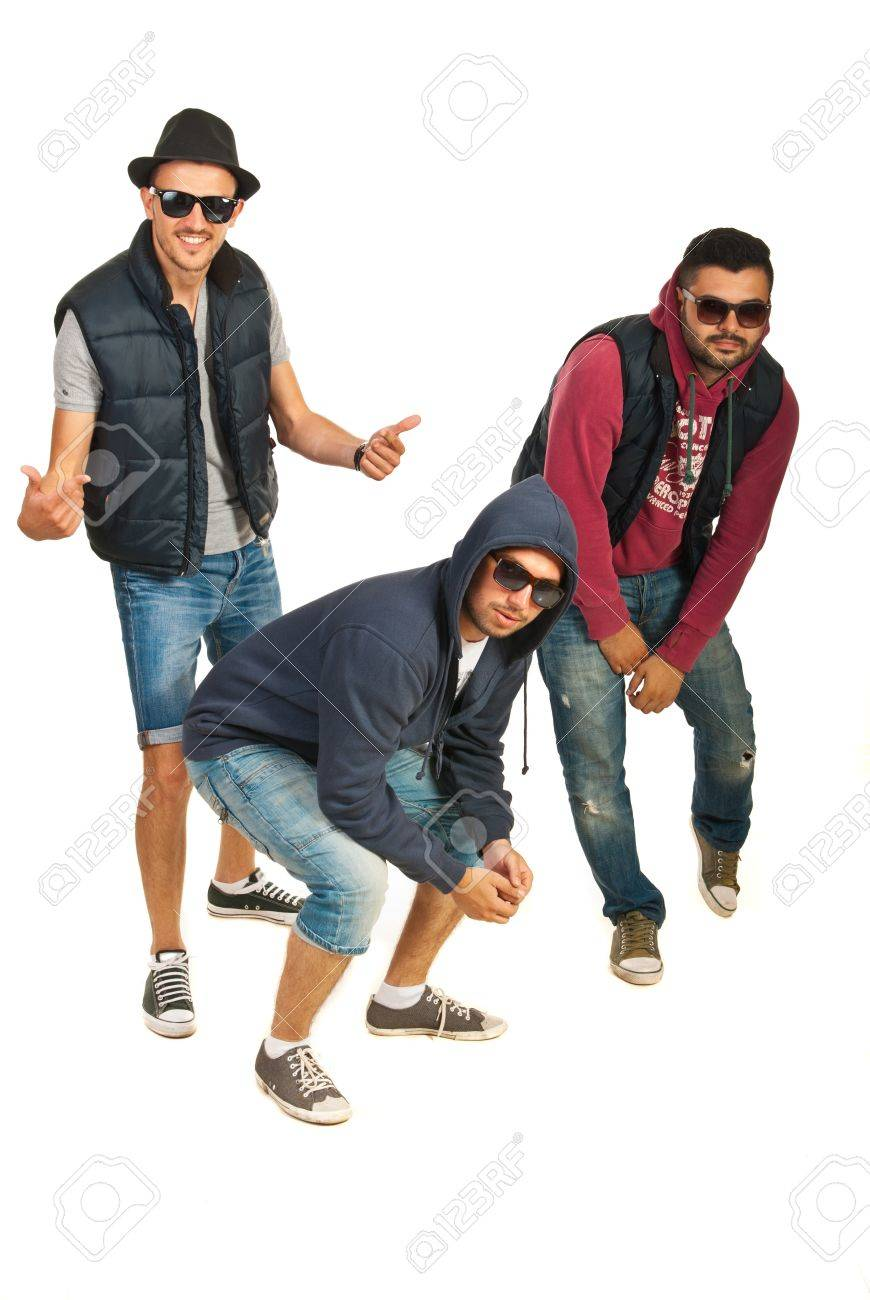 0712d7f318a6 Dancing three rappers guys isolated on white background Stock Photo -  20392976