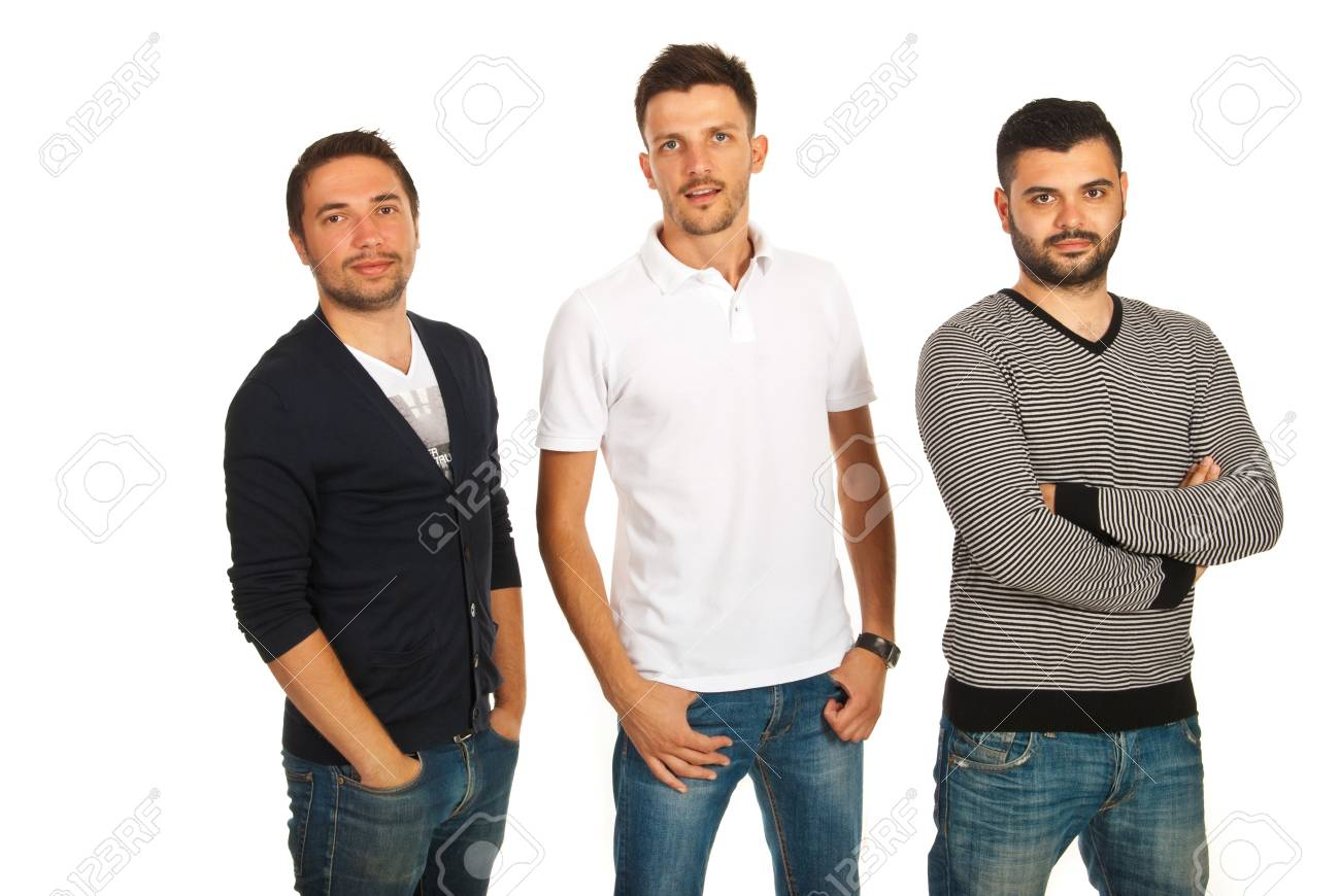 e6b0fd034636 Casual three friends men isolated on white background Stock Photo - 20472038