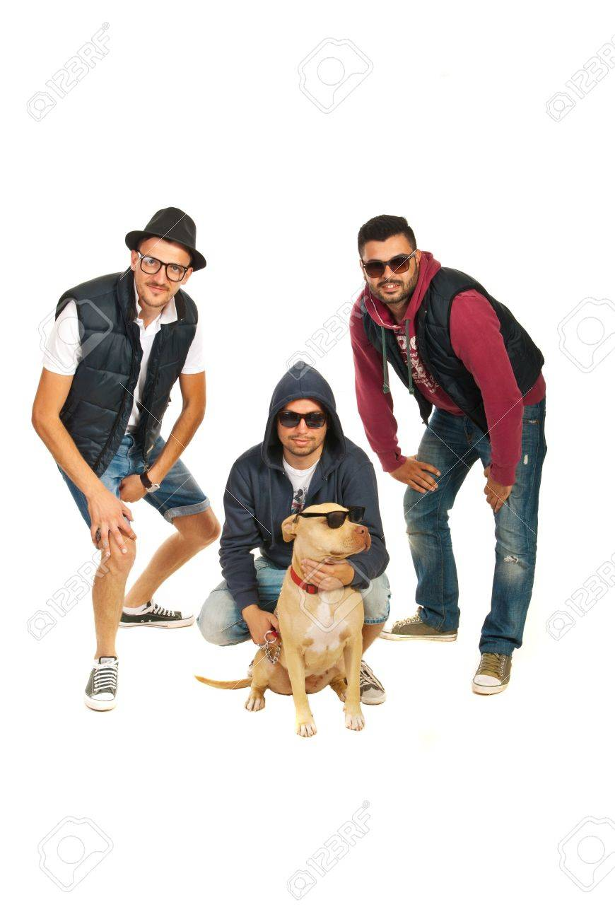 bf2fd6920926 rappers band with pitbull dog with sunglasses isolated on white background  Stock Photo - 20690160