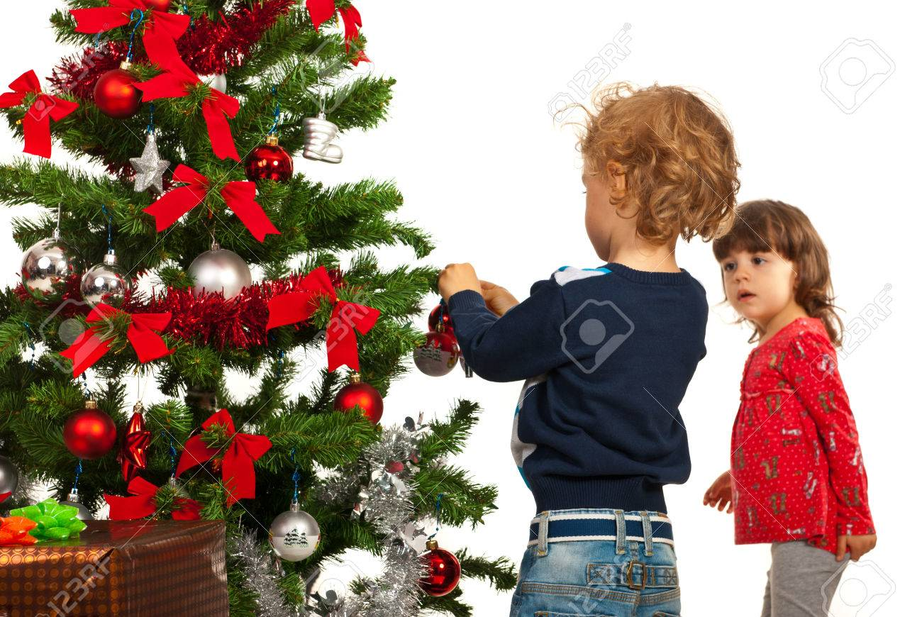 Toddler Kids Arrange Christmas Tree Against White Background Stock Photo Picture And Royalty Free Image Image 22672220