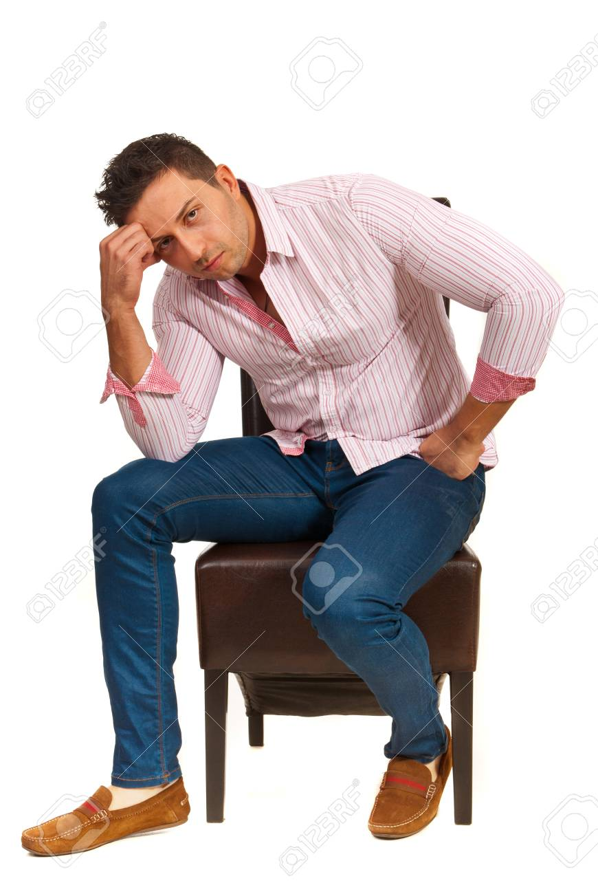 Pleasing Sad Casual Man Sitting On Chair And Resting Face On Hand Isolated Interior Design Ideas Lukepblogthenellocom