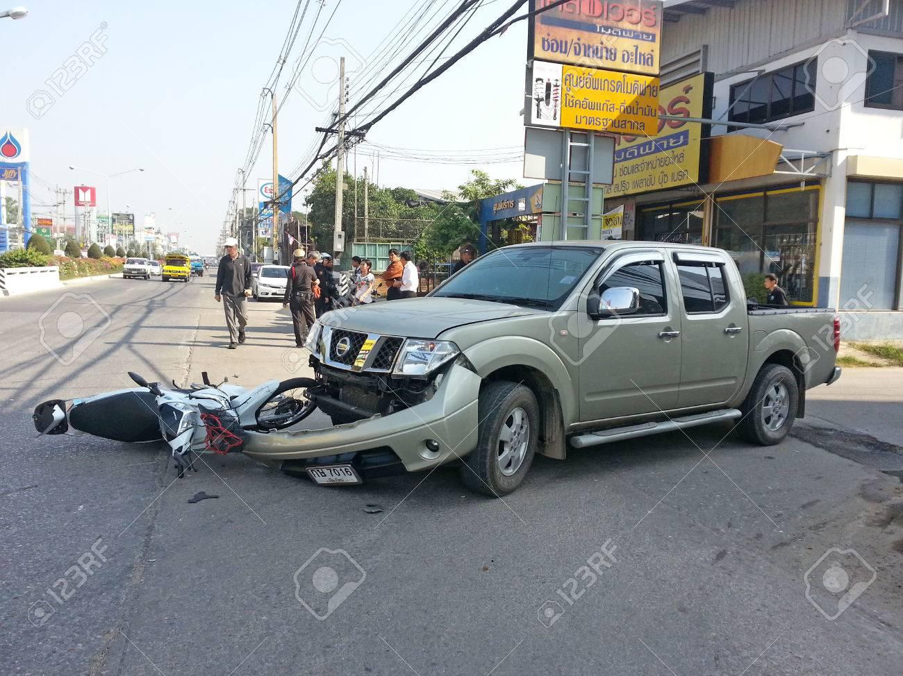 CHIANGMAI, THAILAND-JANUARY 10, 2013: Crash Accident Pickup Truck