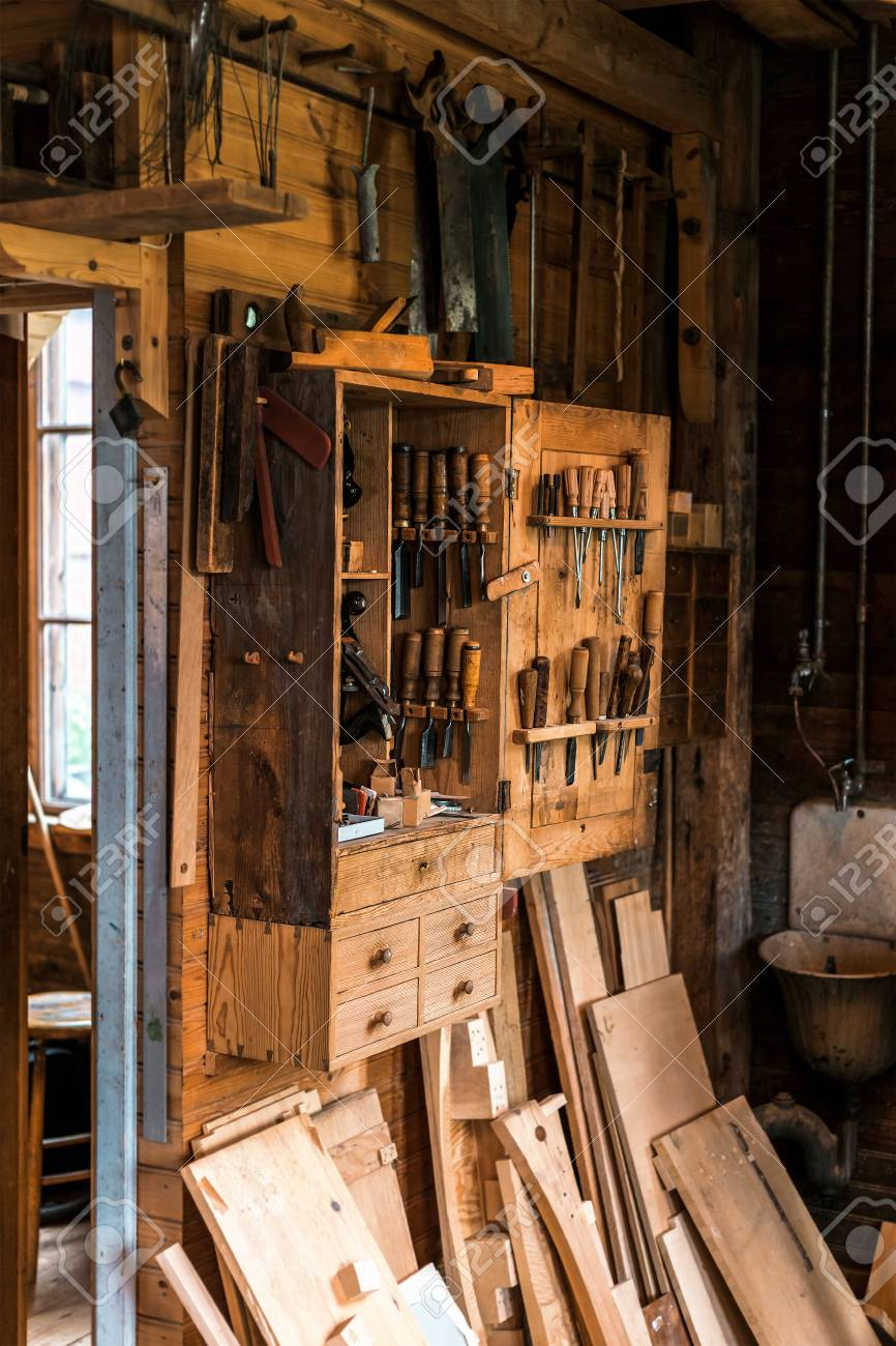 Old Carpenter S Tools For Working With Wood Workshop Stock Photo