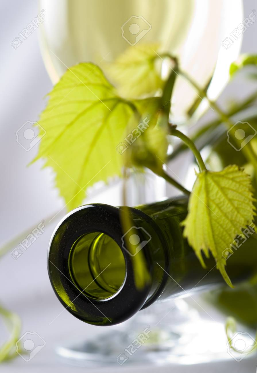 Bottle of wine with fresh leaves Stock Photo - 20086263