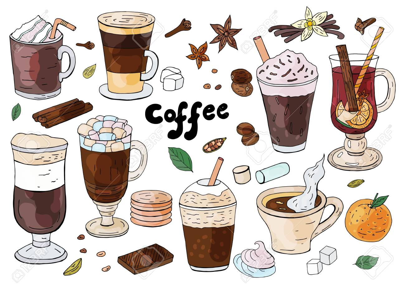 Set of hand drawn different types of coffee on the white background. For cafe menu. - 120043007
