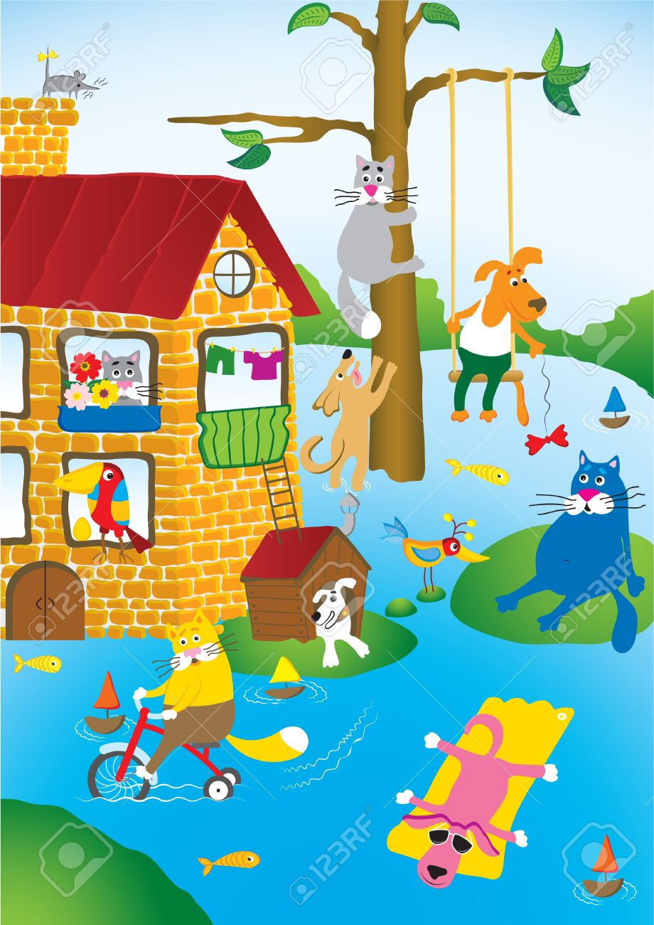 Cartoon landscape with flooding in city of pets Stock Vector - 1425325