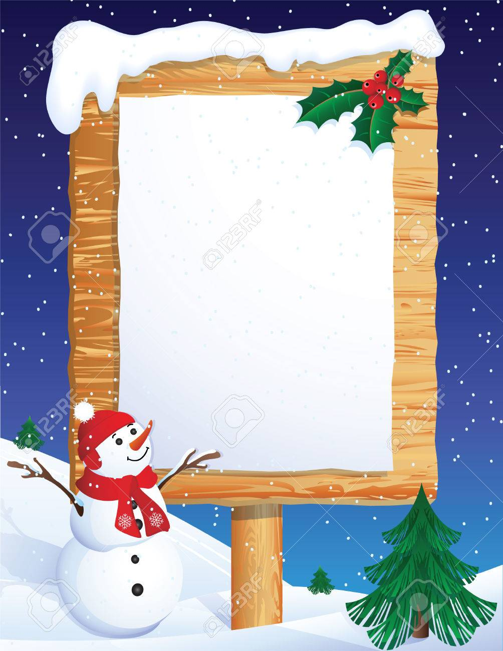 Vector illustration - snowman whis winter background Stock Vector - 2055976