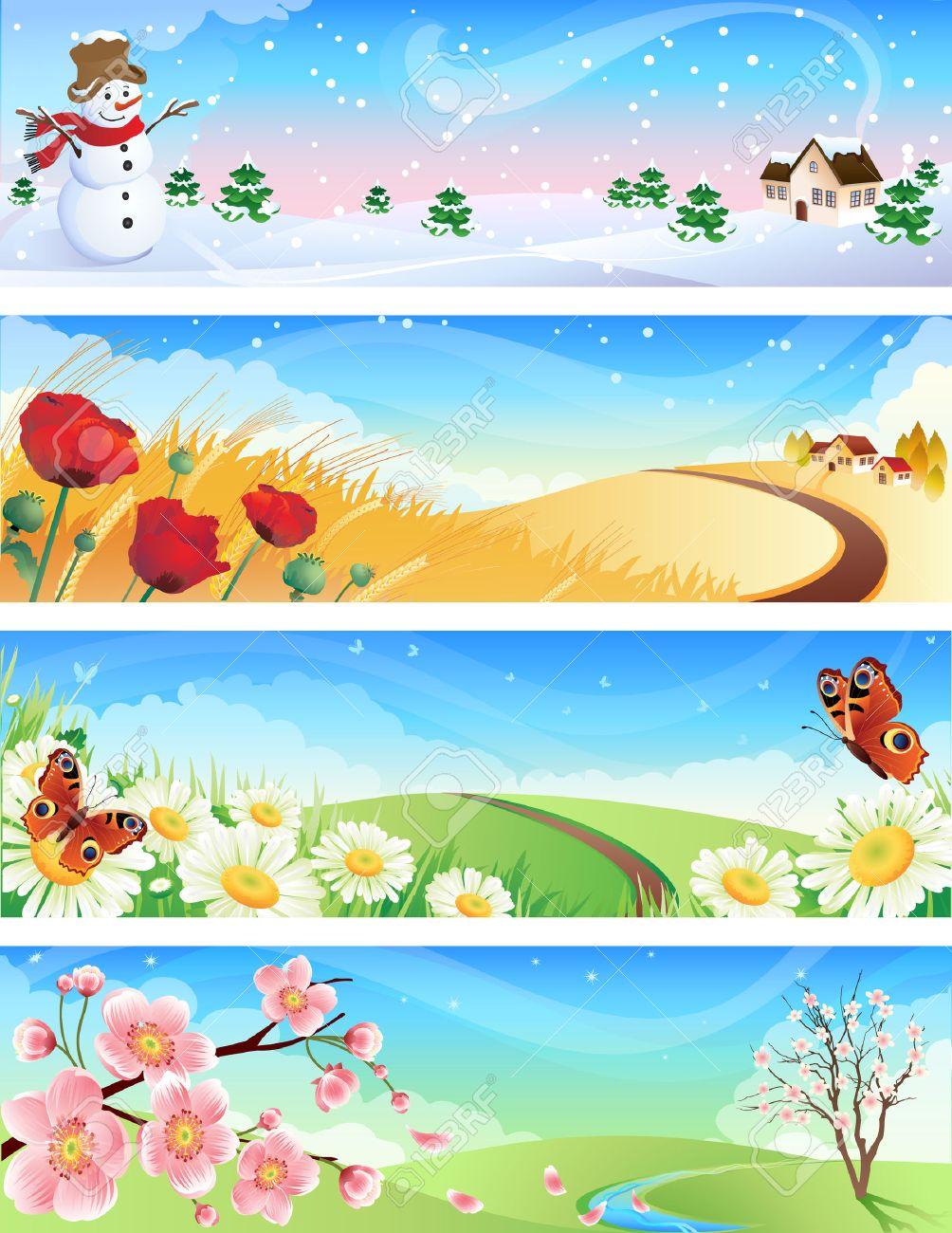 Vector illustration - four seasons landscapes Stock Vector - 3520662