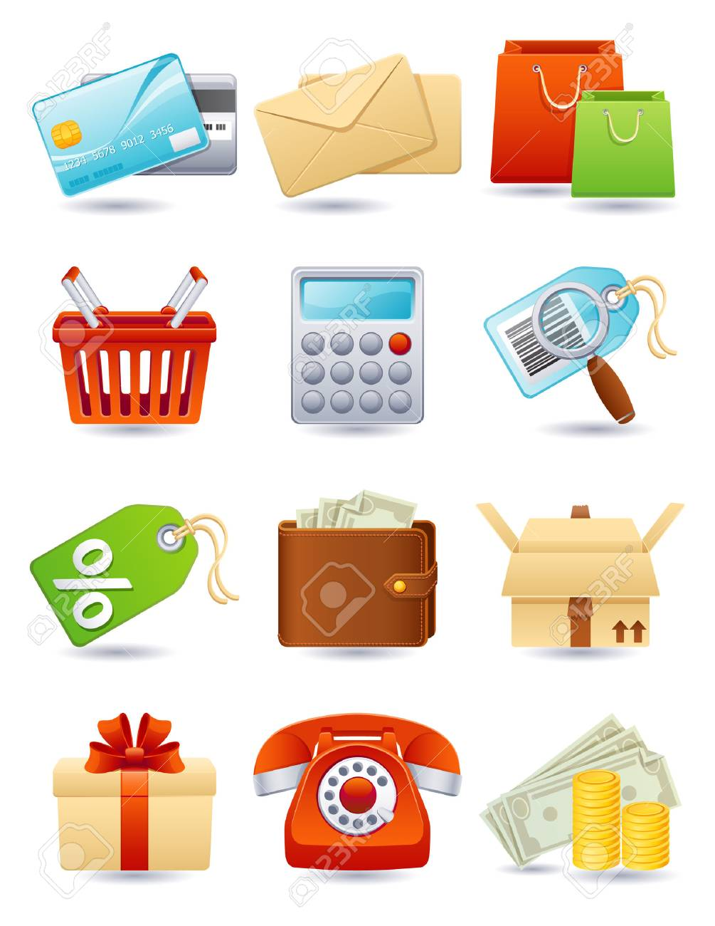 Vector illustration - shopping icon set Stock Vector - 4807199