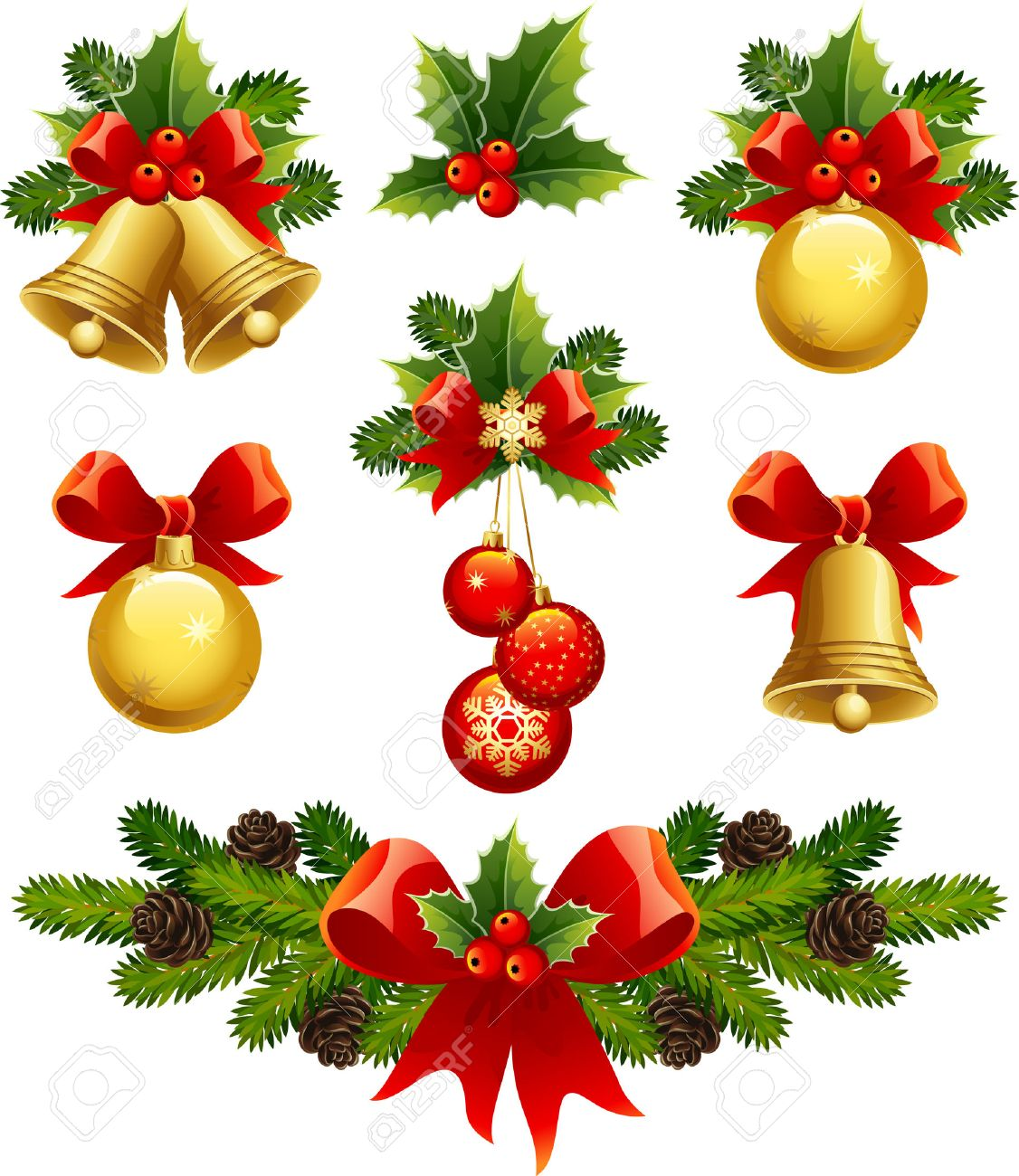 Vector Illustrations  Christmas Ornaments Icons Stock Vector  5905054