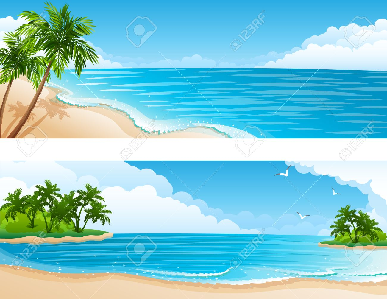 illustration - Tropical landscape with beach, sea and palm trees Stock Vector - 6953392