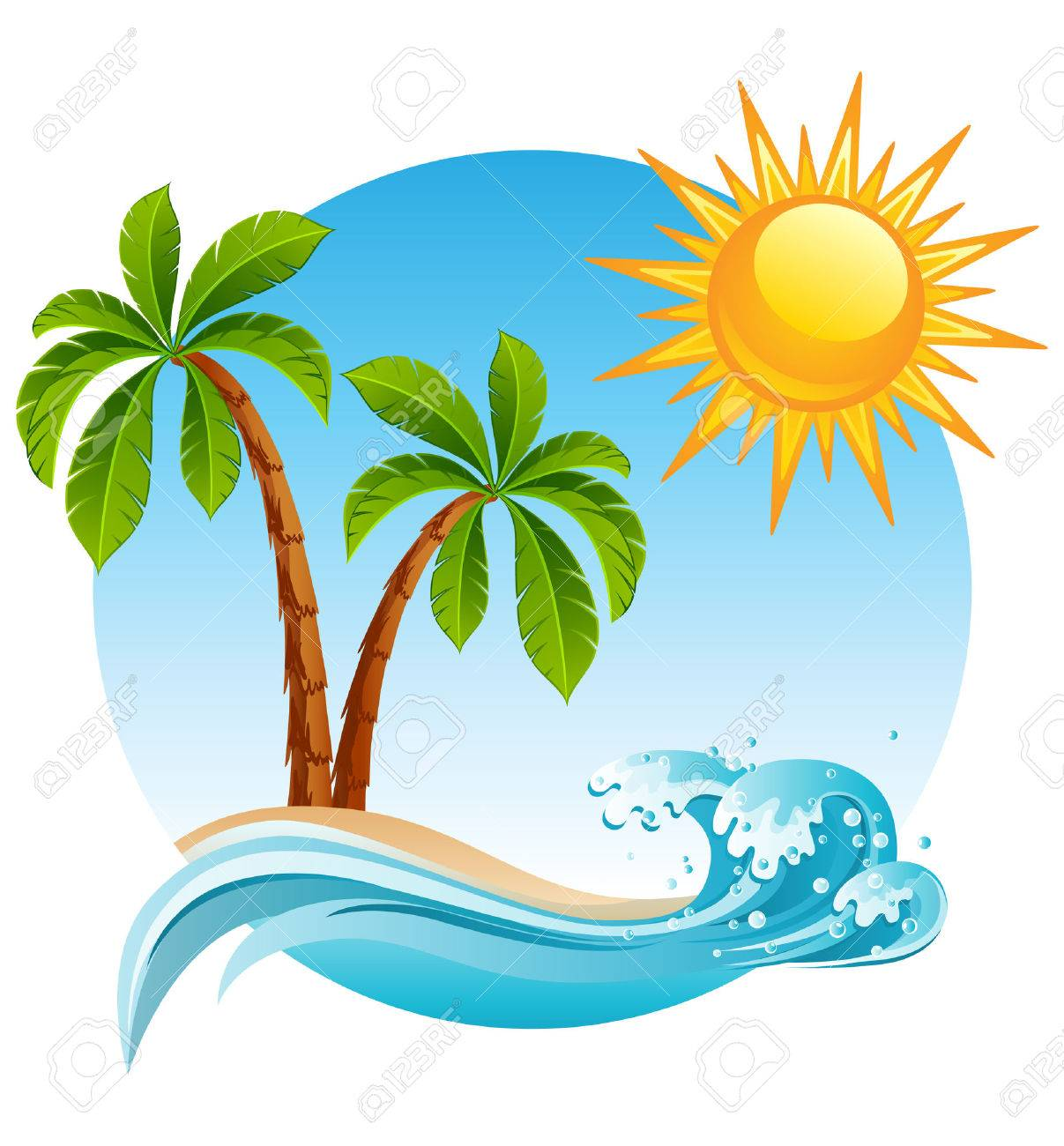 illustration - Two palm-tree  on the tropical island Stock Vector - 6953381