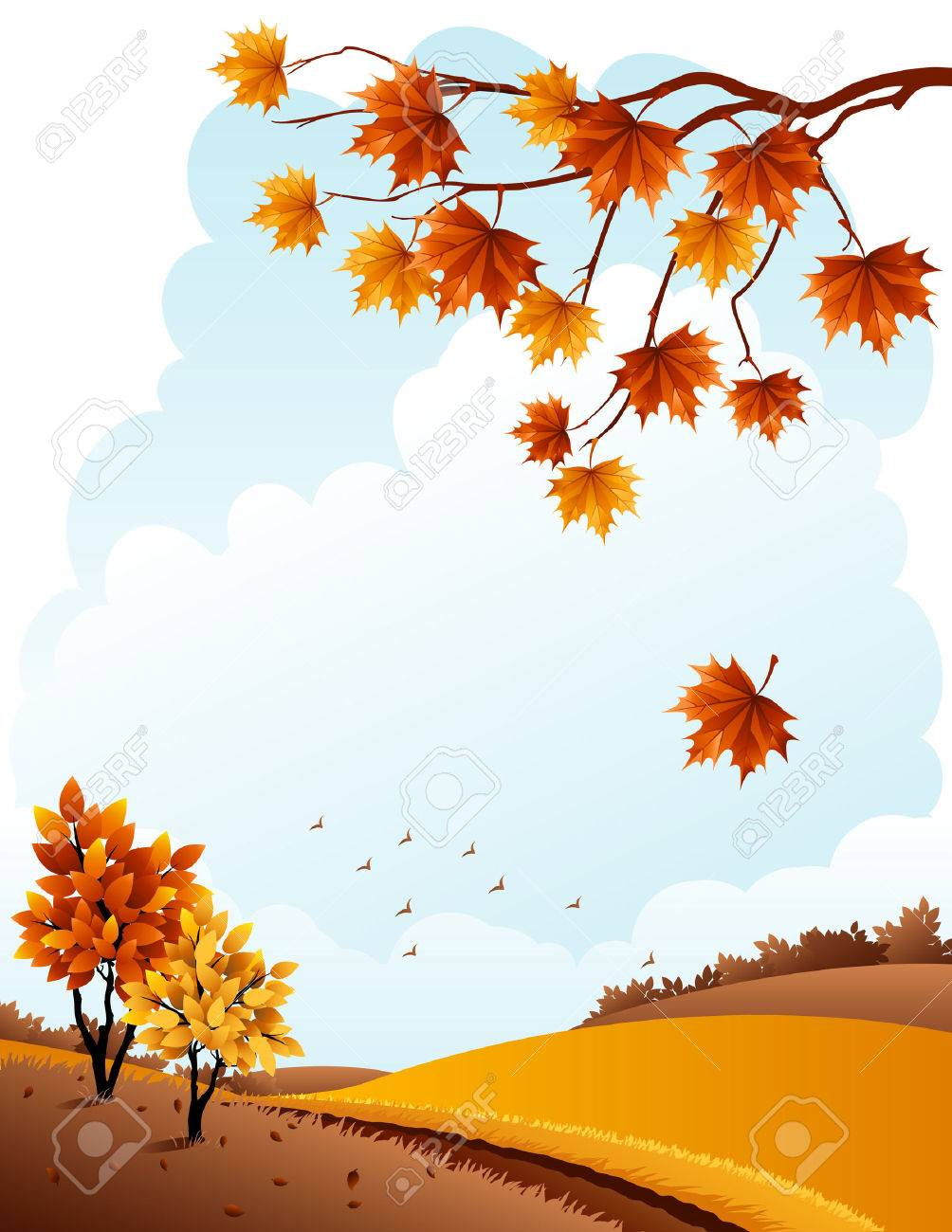 illustration - autumn rural landscape and maple branch Stock Vector - 7816901