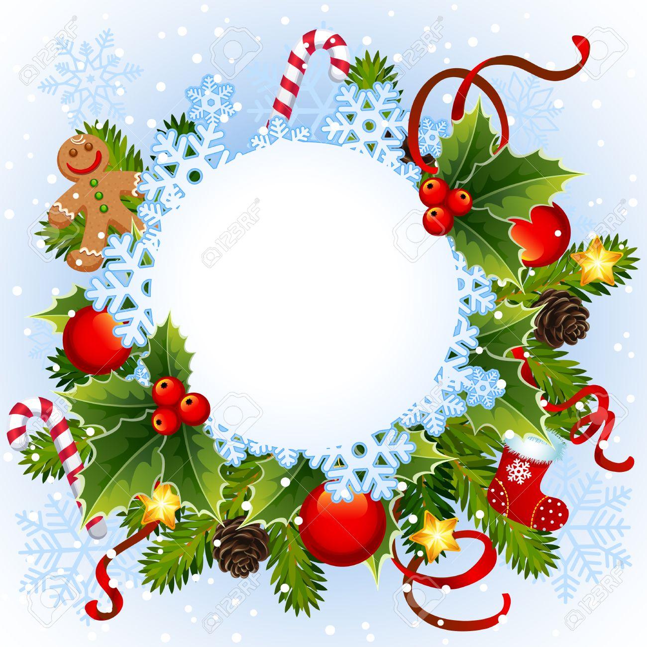 イラスト-クリスマス雪の結晶をフレーム ロイヤリティフリークリップ