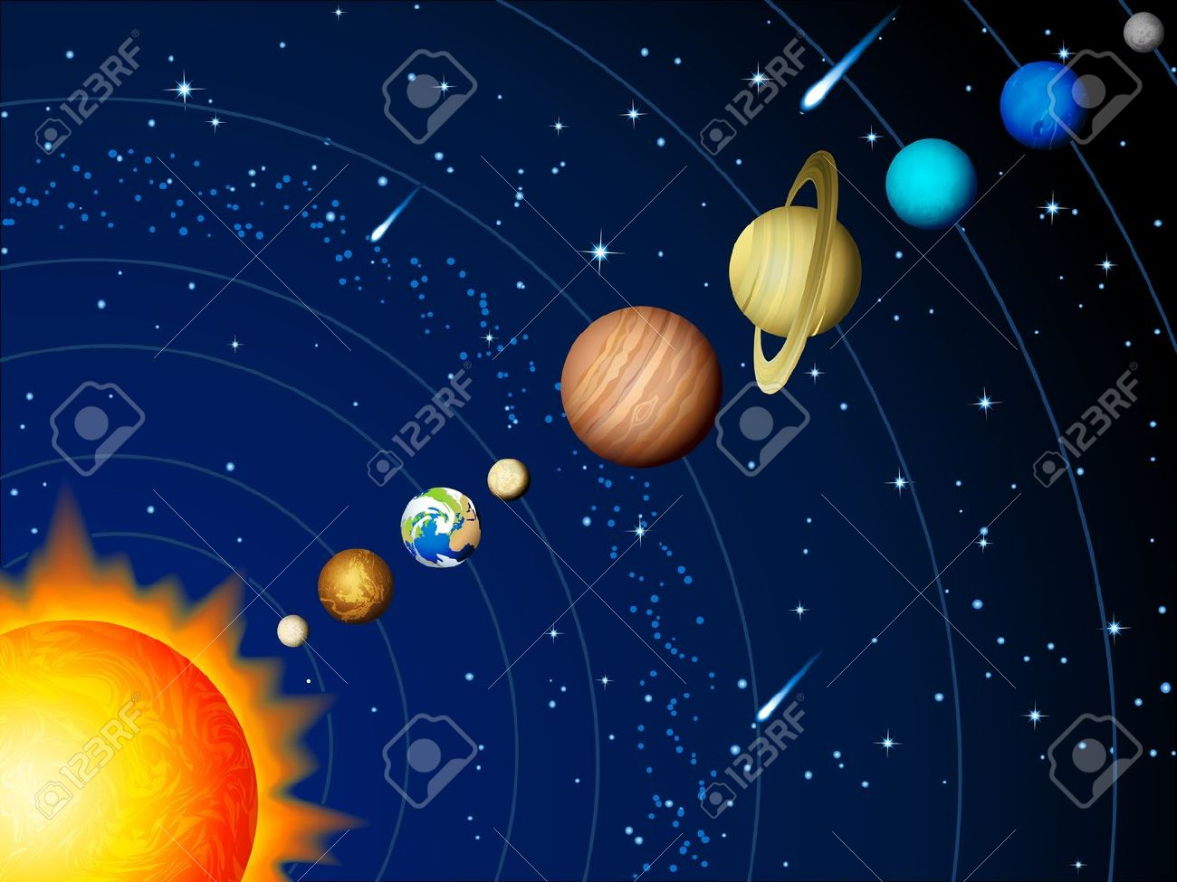 Vector illustration - Solar system background Stock Vector - 10544632