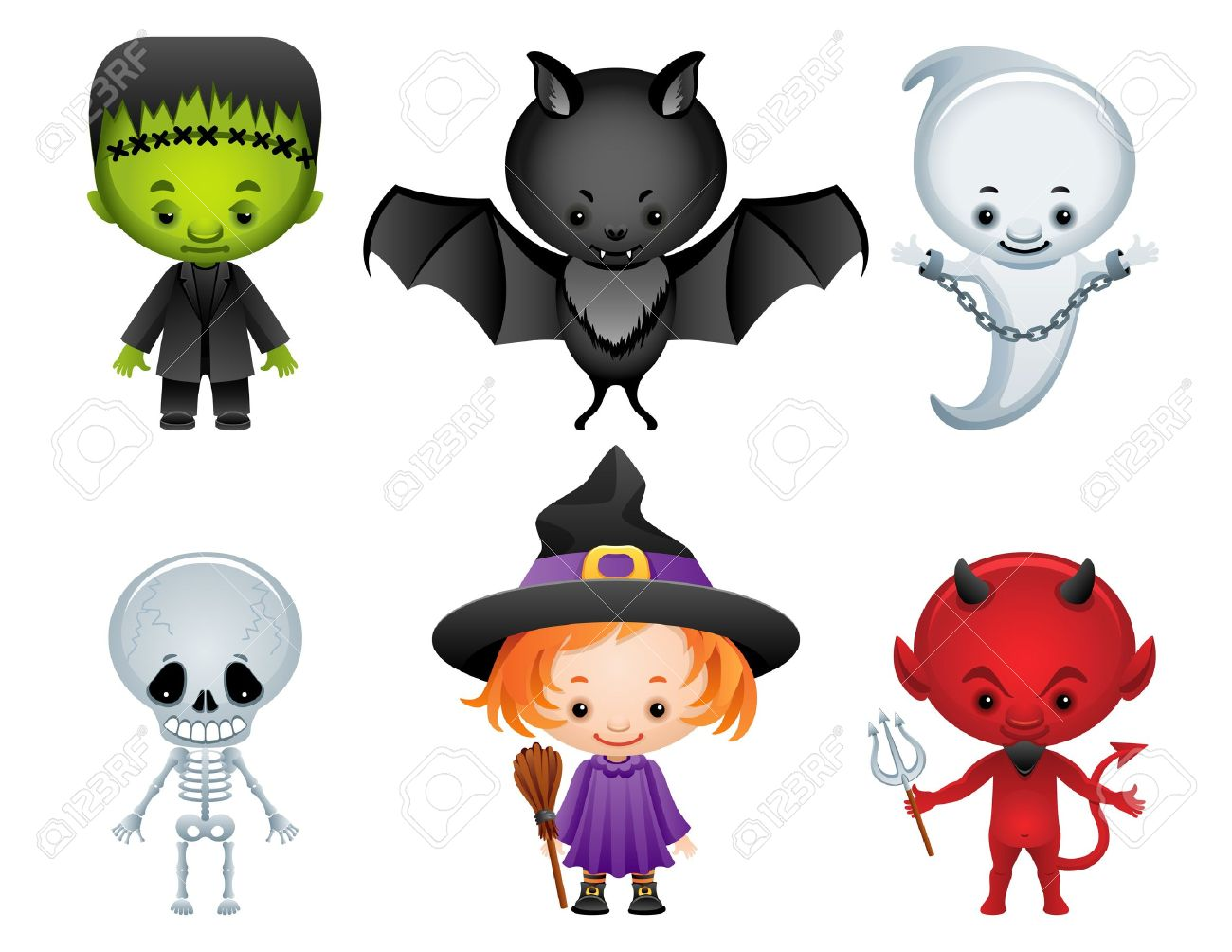 Vector Illustration - Halloween Characters Icon Set Royalty Free ...