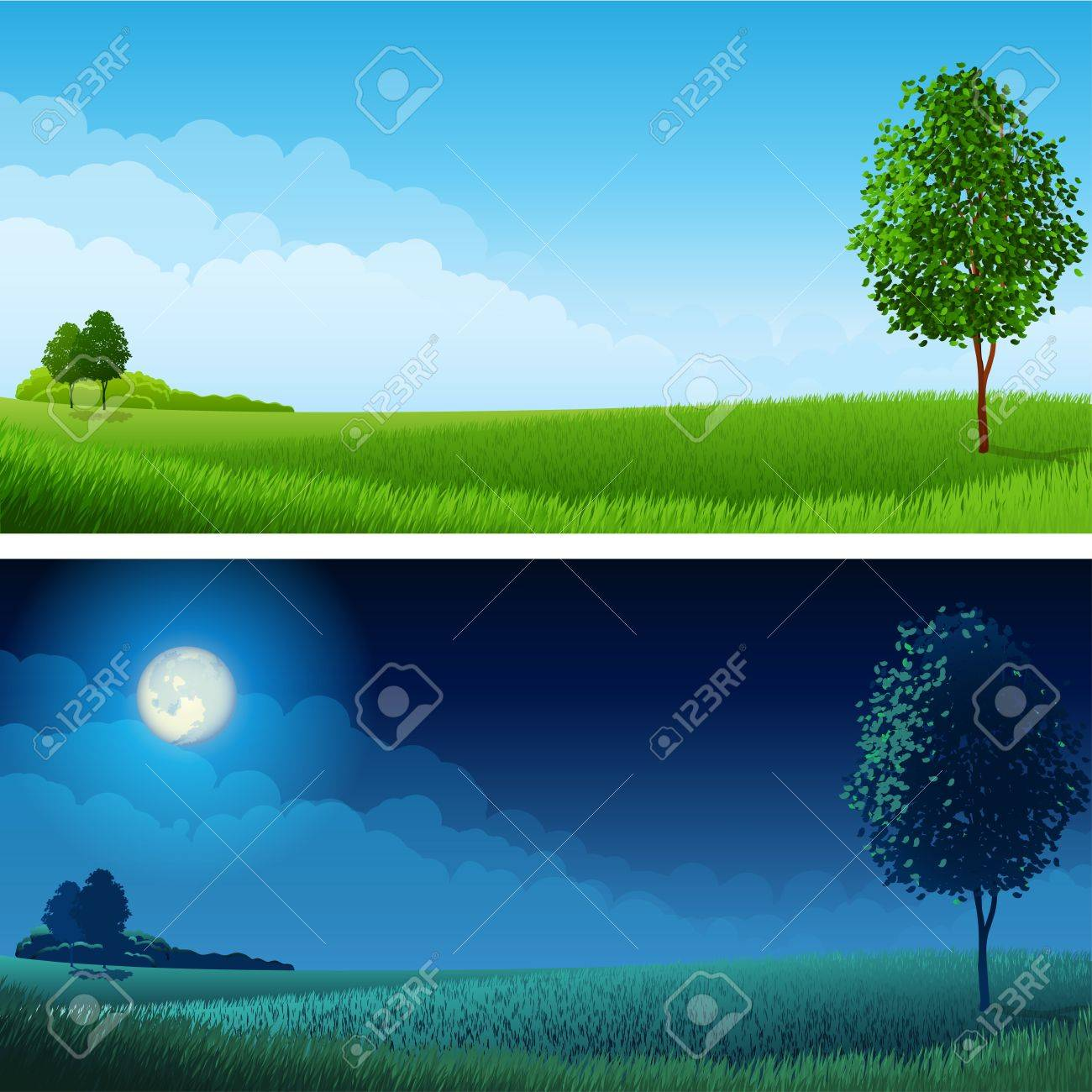 illustration - Summer landscape (day and night), RGB.Use transparency and blend modes - 14600173