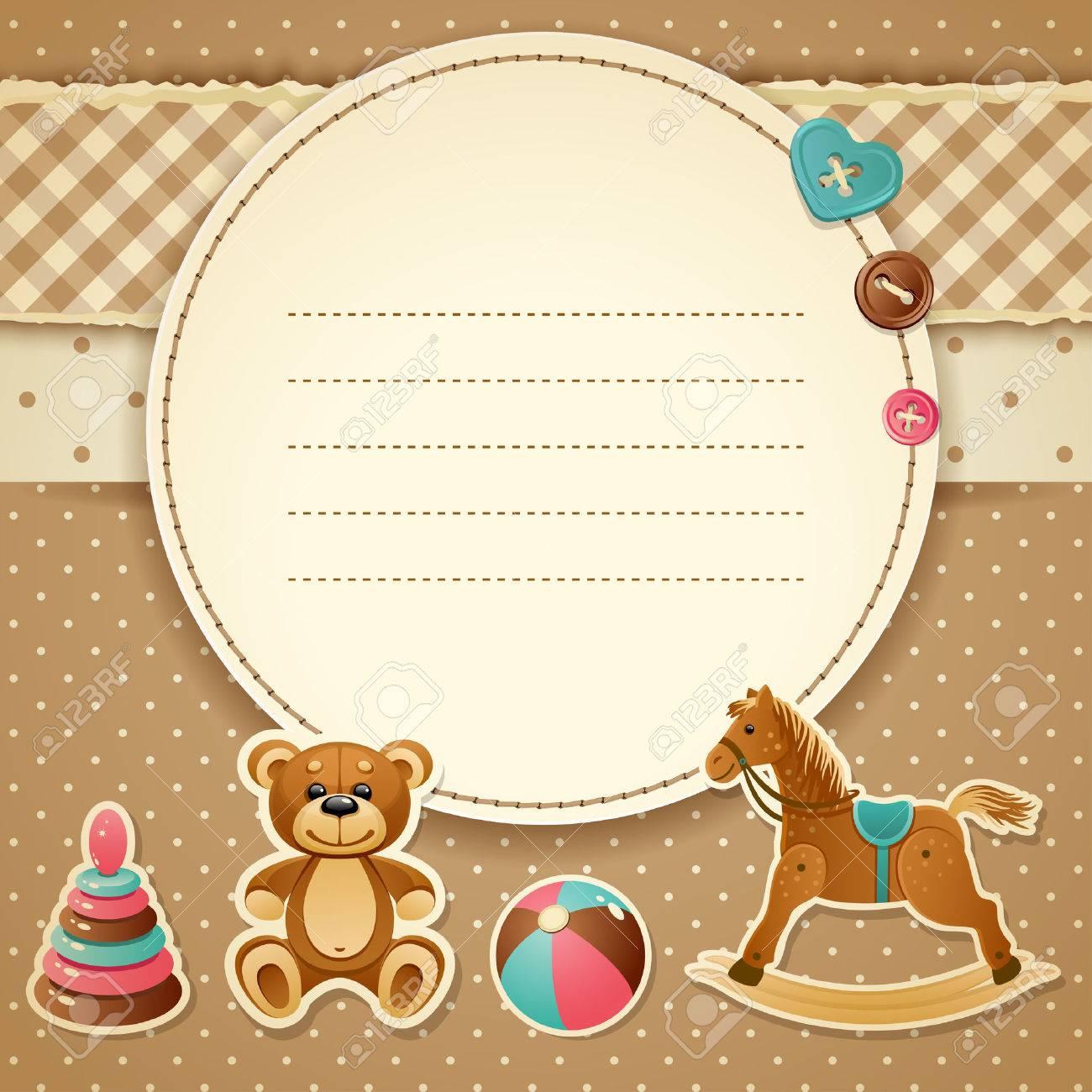 Abbildung Babyparty Einladung (Junge) Lizenzfreie Bilder   28508124