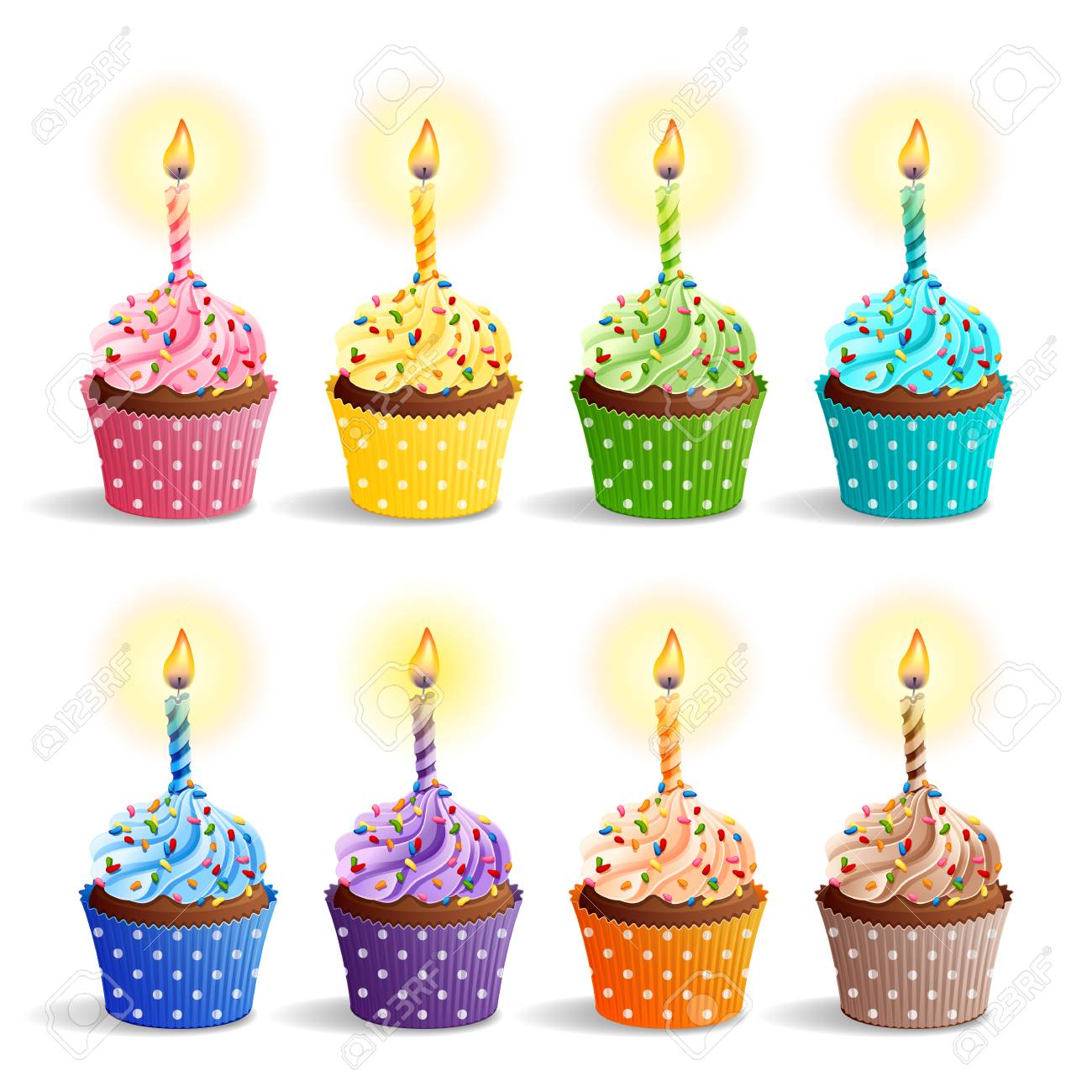 Vector Icon Set Colorful Birthday Cupcakes With Candles Royalty