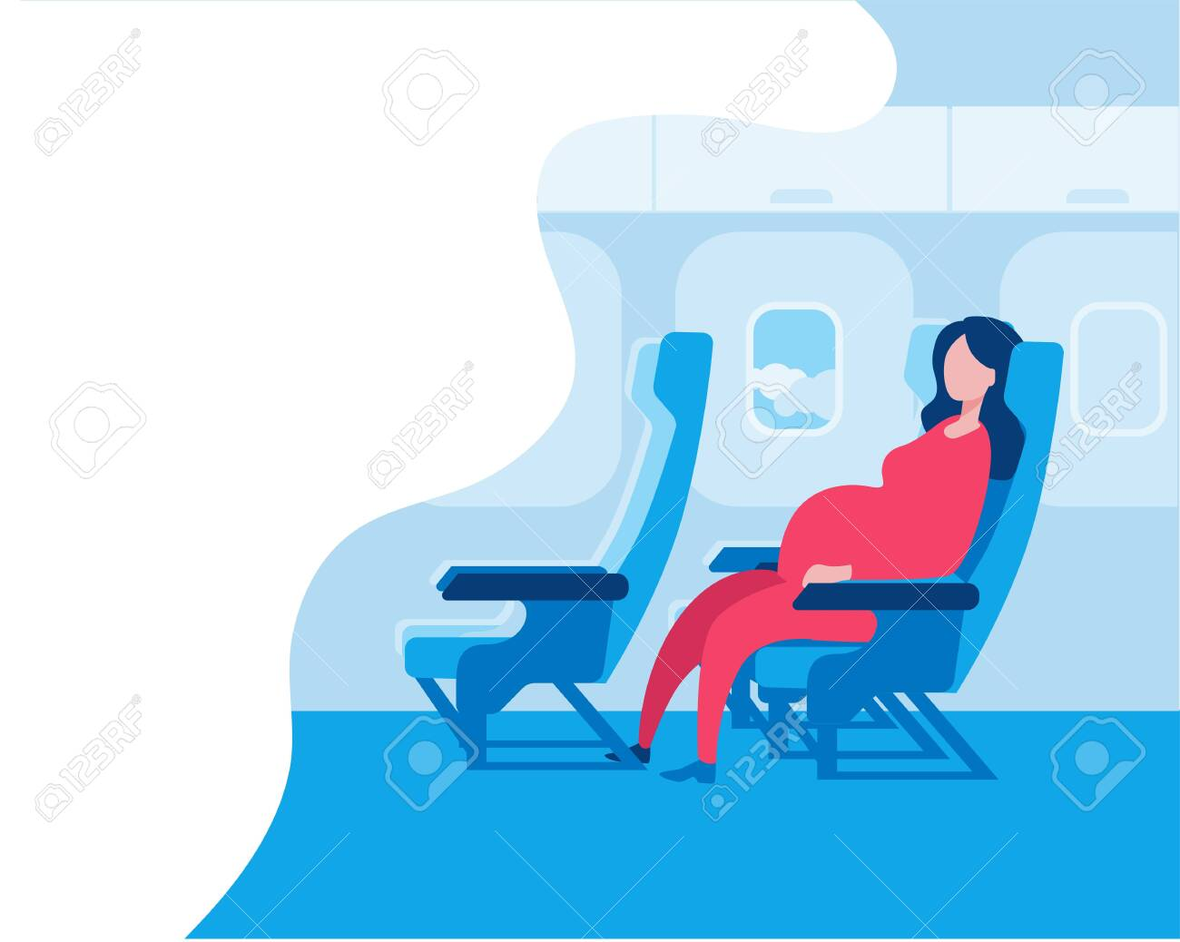 Pregnant woman sitting in an airplane seat. Vector illustration in a flat style on the theme of travel during pregnancy. Red-blue color scheme. - 132600413