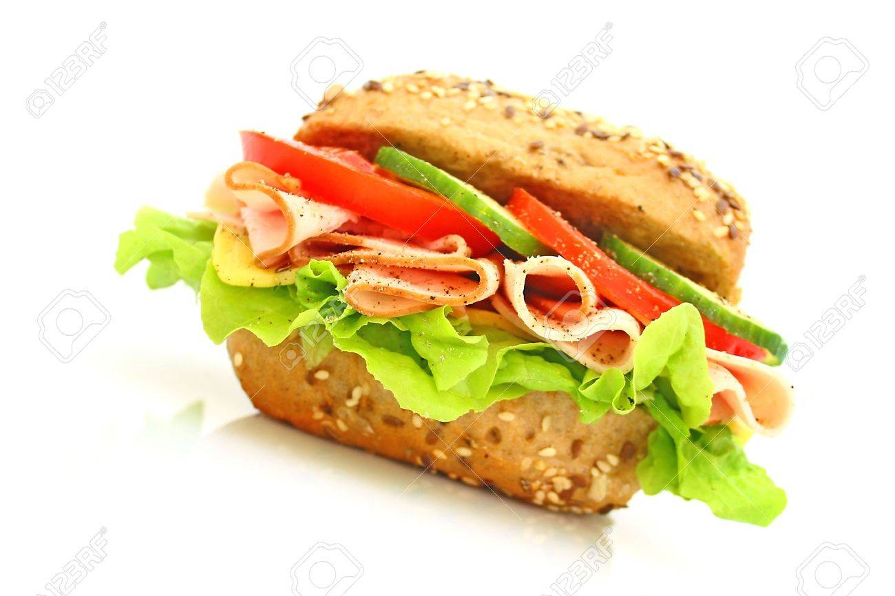 Fresh sandwich with ham and cheese and vegetables Stock Photo - 5647559
