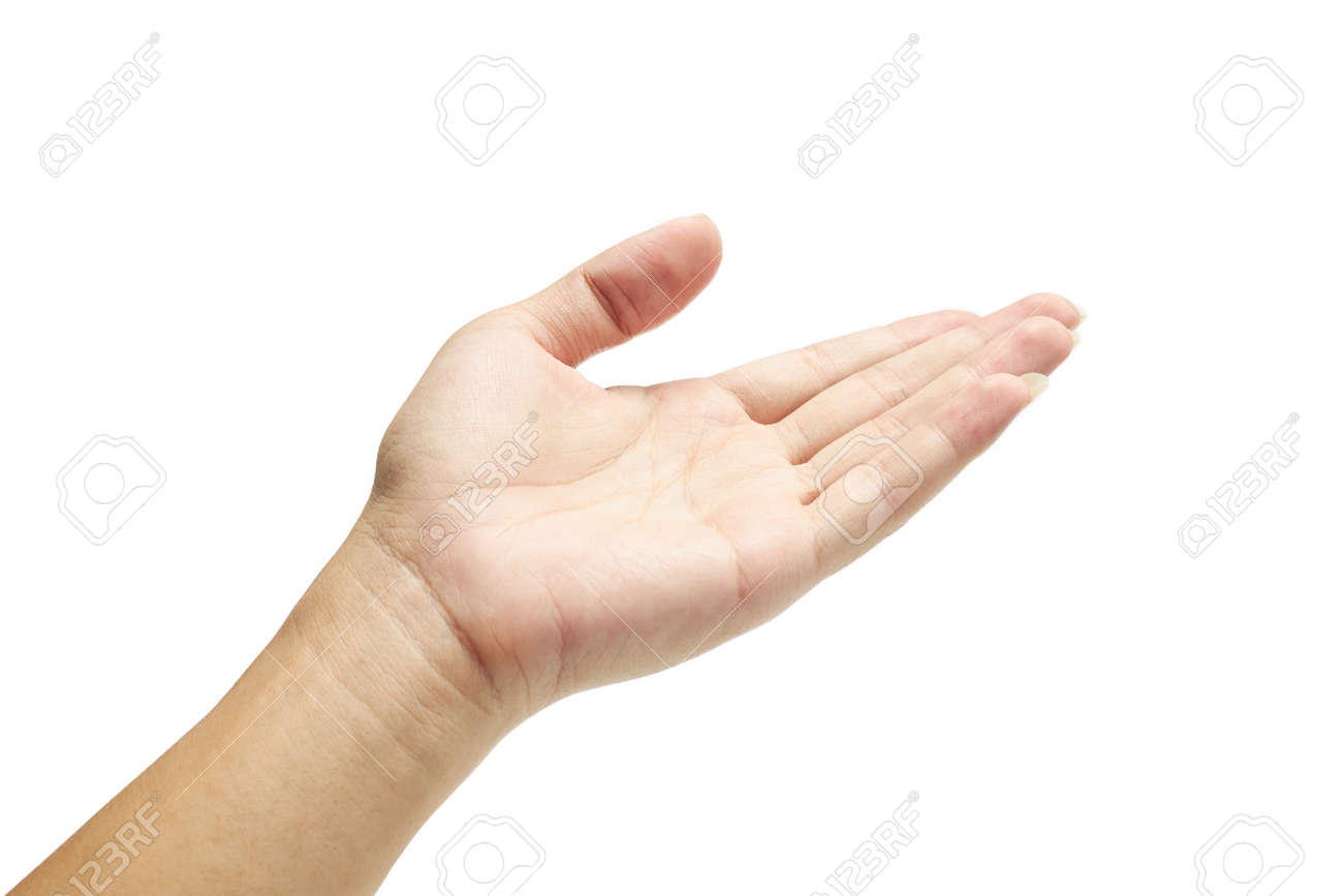 Human's hand holding something on isolated with clipping path. - 167220997