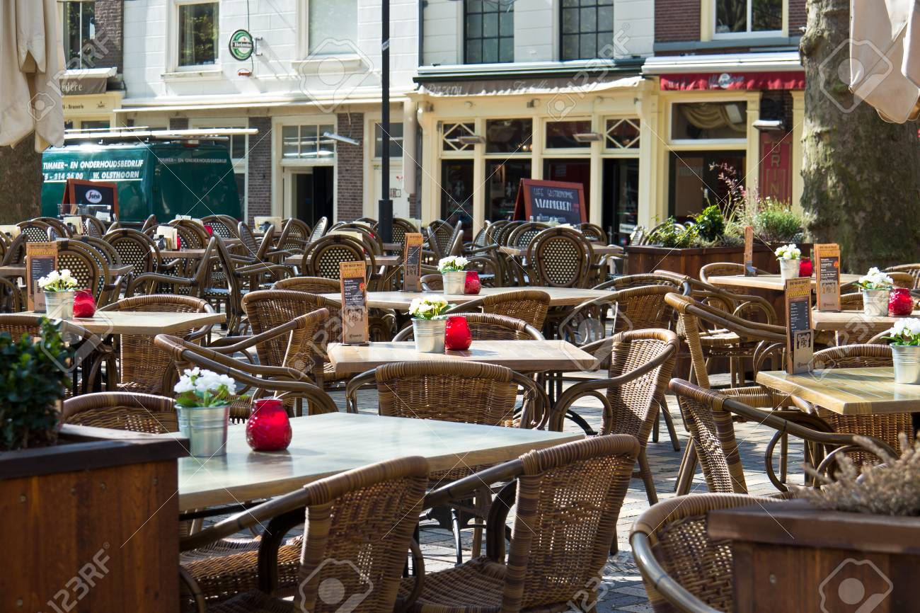 Outdoor Cafe Restaurant Patio In Delft Netherlands Stock Photo Picture And Royalty Free Image Image 46305916