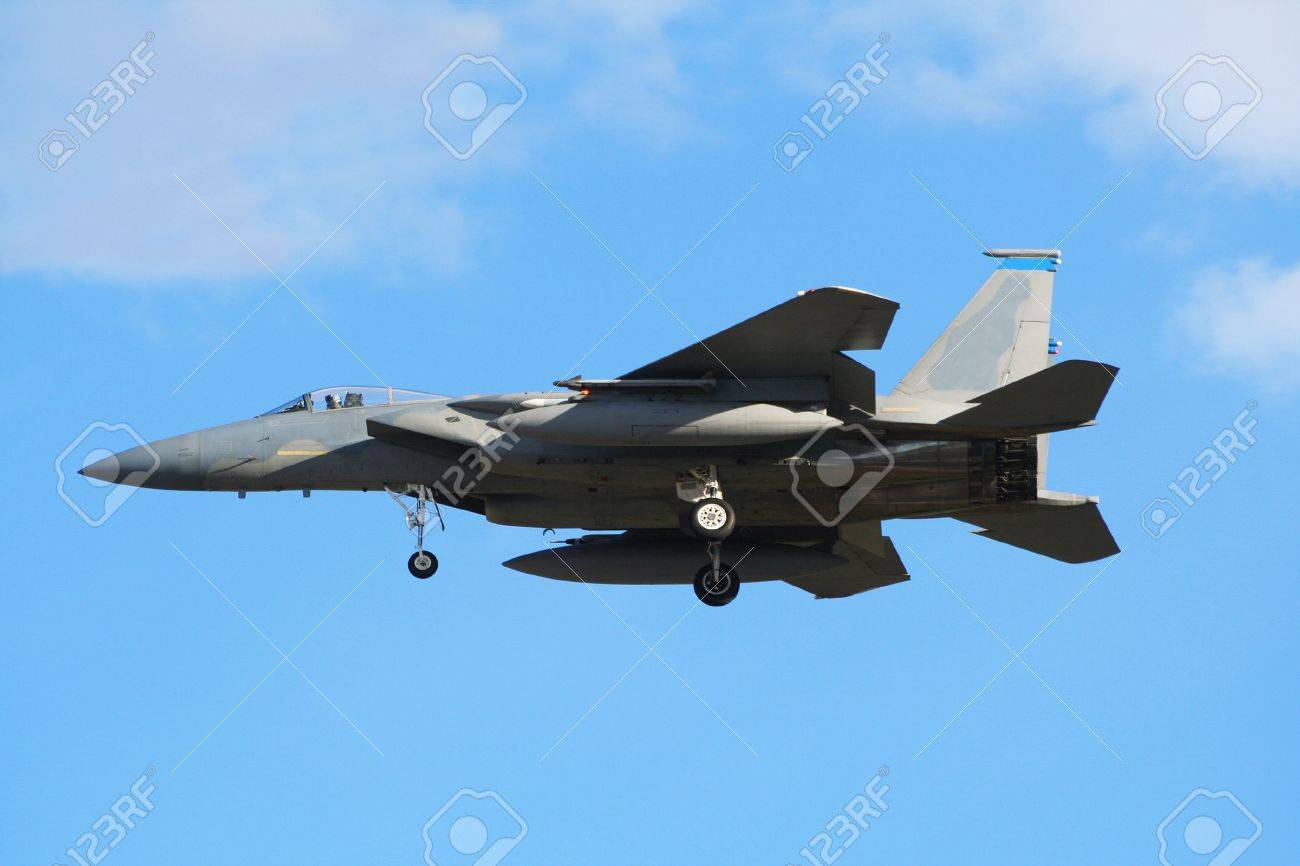 military f 15 eagle jet fighter landing stock photo picture and