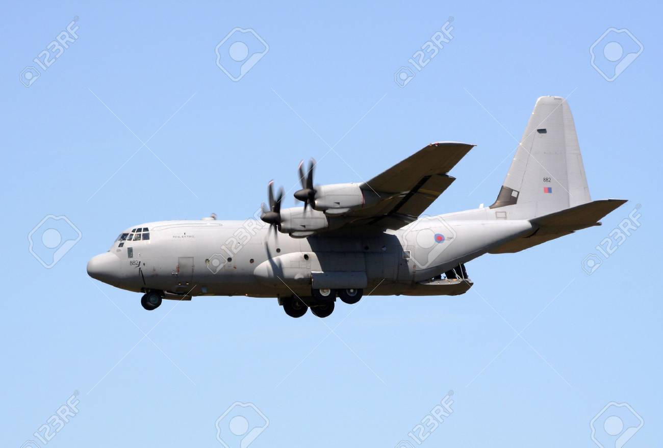 GILZE-RIJEN, THE NETHERLANDS - JUNE 18: Royal Air Force C-130J Hercules flyby on the Dutch Air Force Open Days. June 18, 2005 in Gilze-Rijen, The Netherlands Stock Photo - 6897416