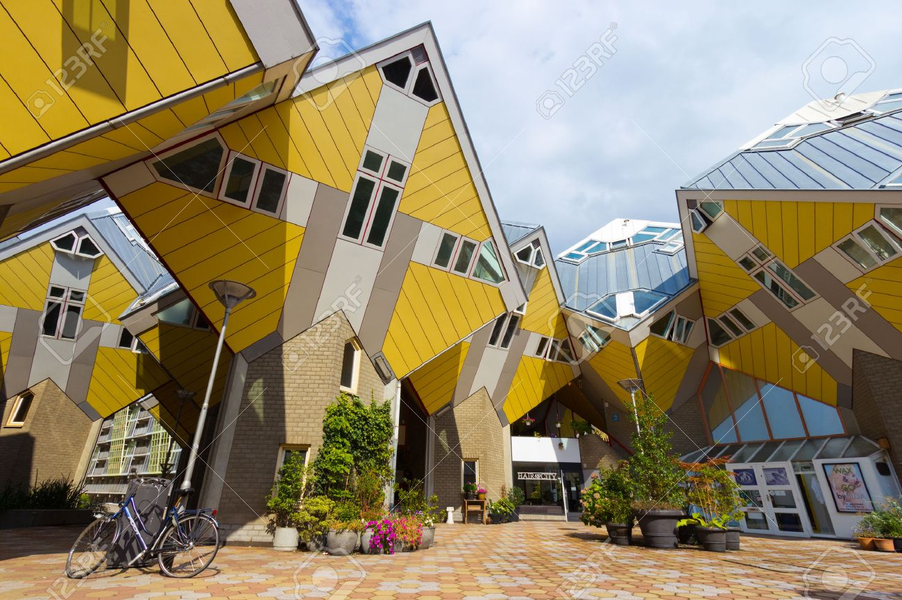ROTTERDAM, Netherlands - Sep 8: Cube houses designed by Piet Blom on Sep 8, 2013 in Rotterdam, Netherlands. The design represents a village where each house represents a tree. All the houses together a forest. - 26278190