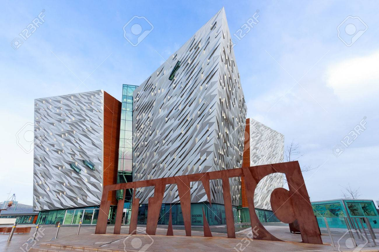 BELFAST, NORTHERN IRELAND - FEB 9, 2014: The Titanic visitor attraction and a monument in Belfast, Northern Ireland. Opened in 2012, this is the Titanic sign in front of the entrance. - 29098661
