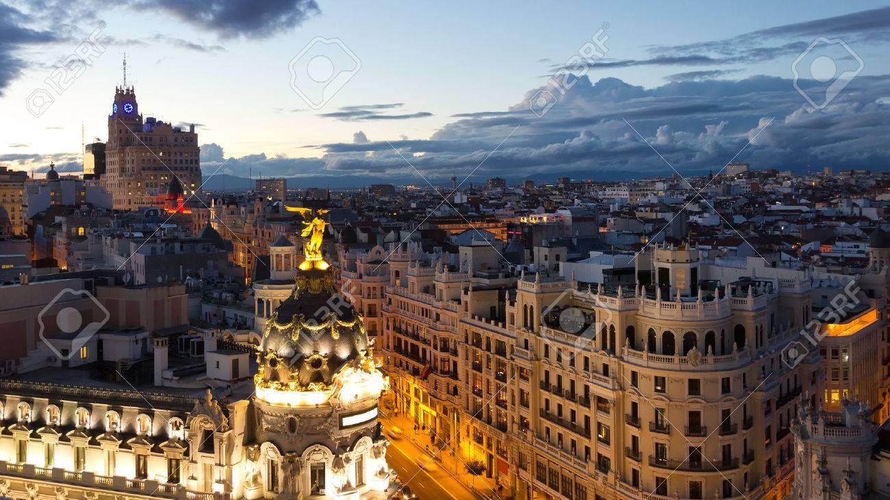 Panoramic aerial view of Gran Via, main shopping street in Madrid, Spain. - 35822412