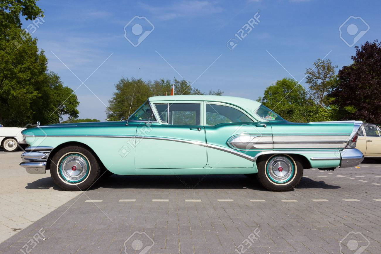 DEN BOSCH, THE NETHERLANDS - MAY 10, 2015: 1958 Buick Special on the parking lot at the Rock Around The Jukebox event. - 40667379