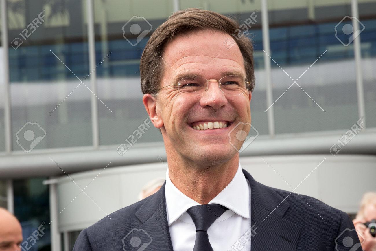 AMSTERDAM - APRIL 16, 2015: Dutch Prime Minister Mark Rutte attends the opening of the AutoRAI 2015. - 43723106