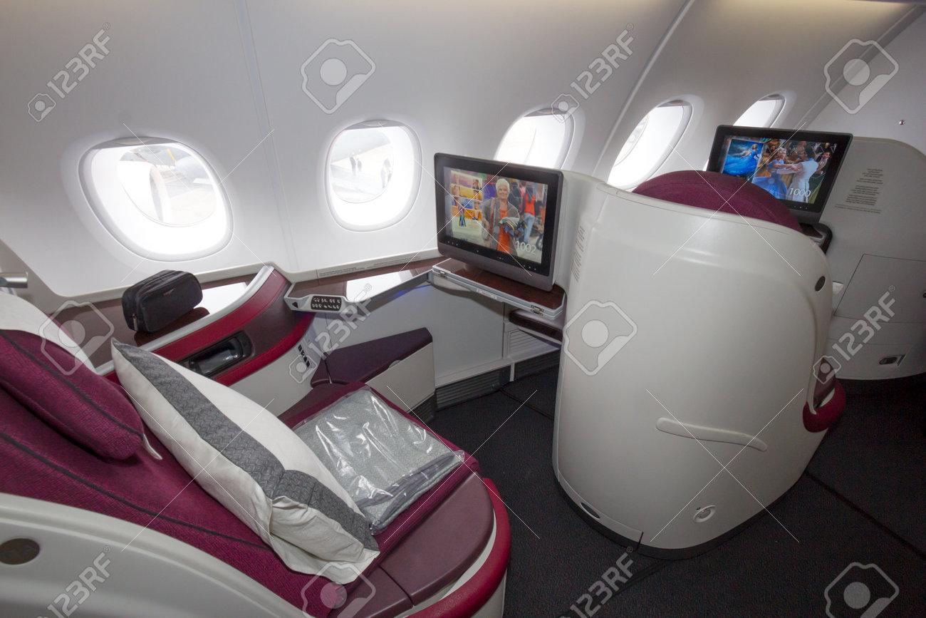 PARIS - JUN 18, 2015: First Class seat in a Qatar Airways Airbus