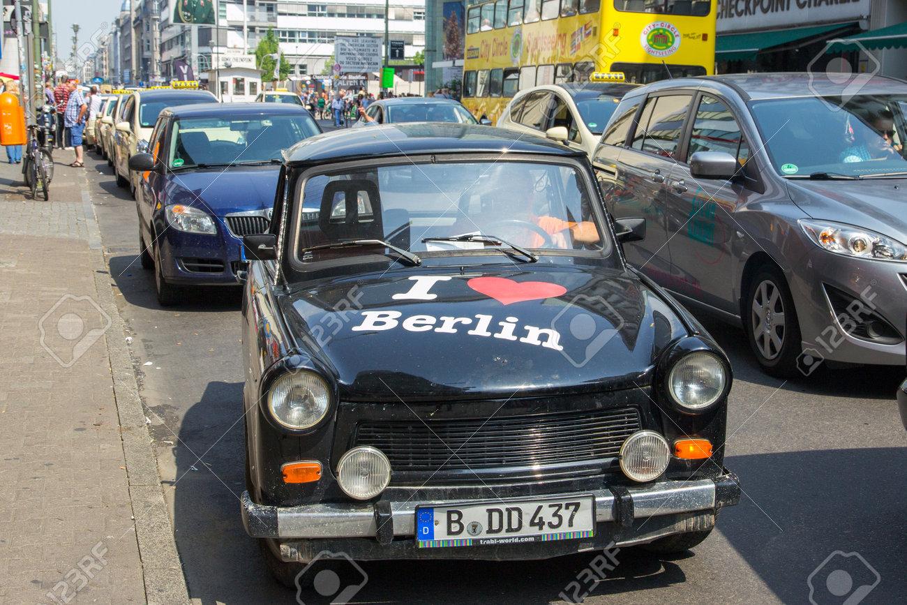 BERLIN, GERMANY - MAY 23, 2014: Trabant Car With \'I Love Berlin ...