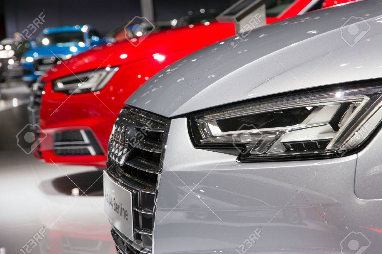 BRUSSELS - JAN 12, 2016: New Audi cars on display at the Brussels Motor Show. - 52167719