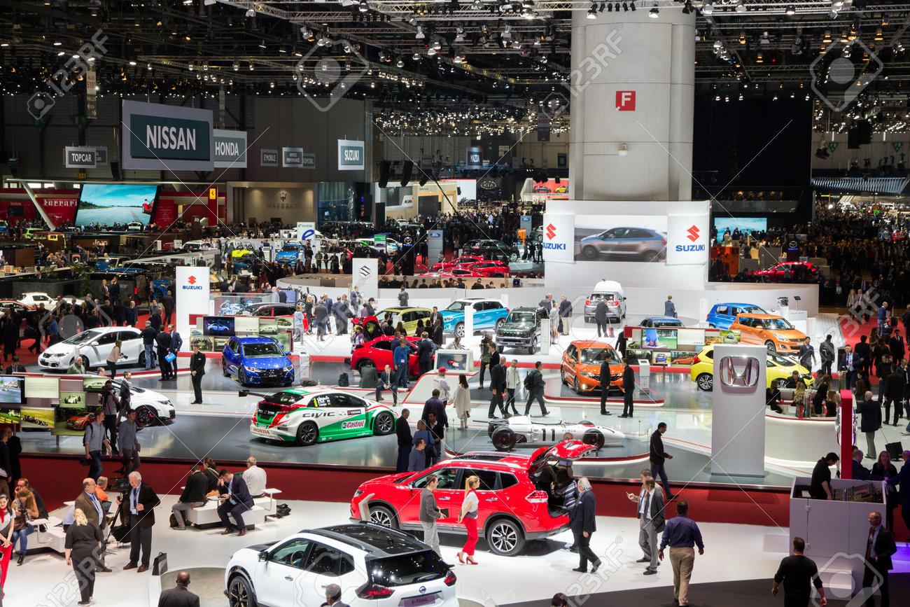 GENEVA, SWITZERLAND - MARCH 1, 2016: Overview of the 86th International Geneva Motor Show in Palexpo, Geneva. - 54915314