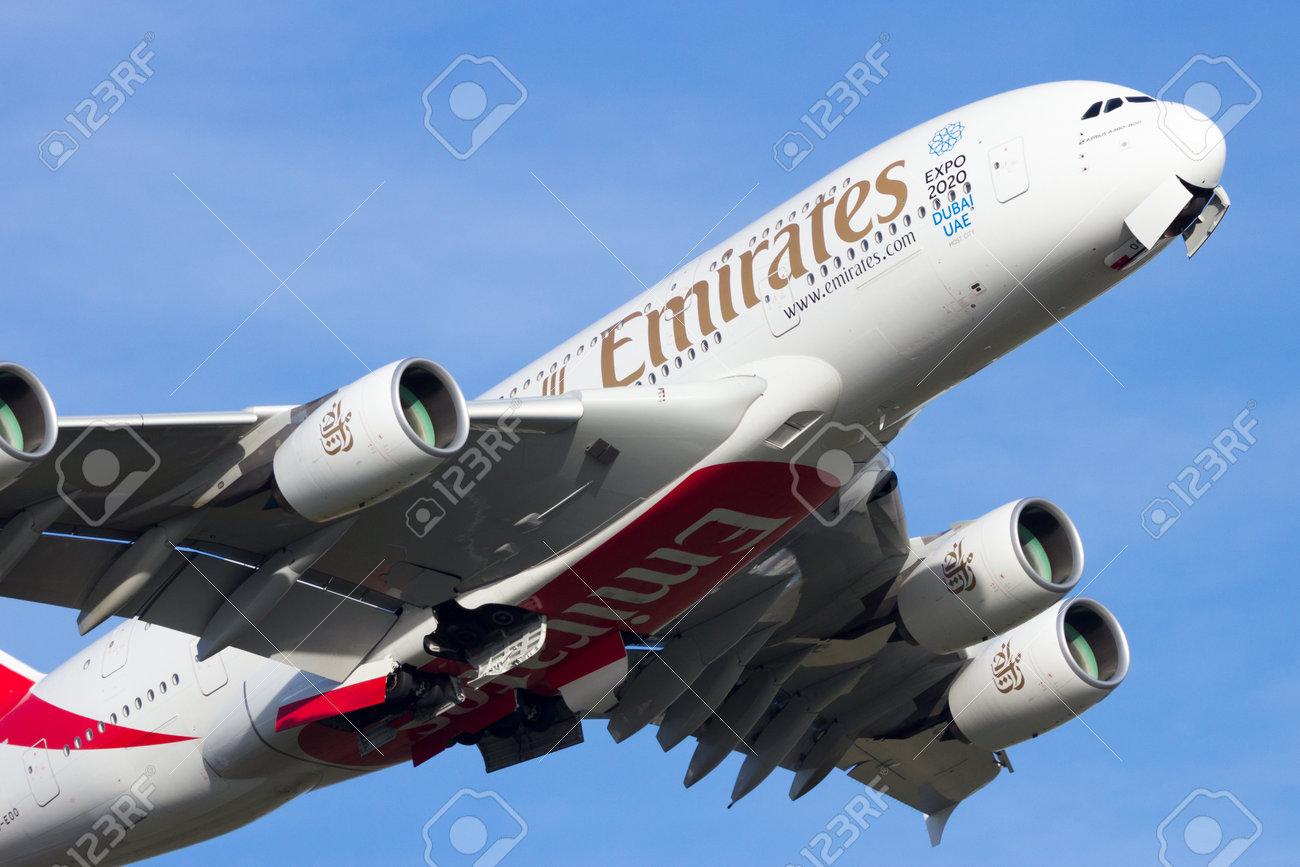 AMSTERDAM-SCHIPHOL - FEB 16, 2016: Emirates Airline Airbus A380 take off from Amsterdam-Schiphol airport. - 54915278