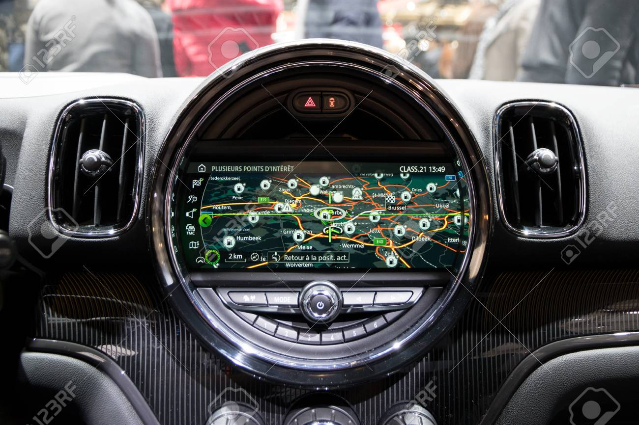 Brussels Jan 19 2017 Dashboard Navigation Inside A Mini Cooper