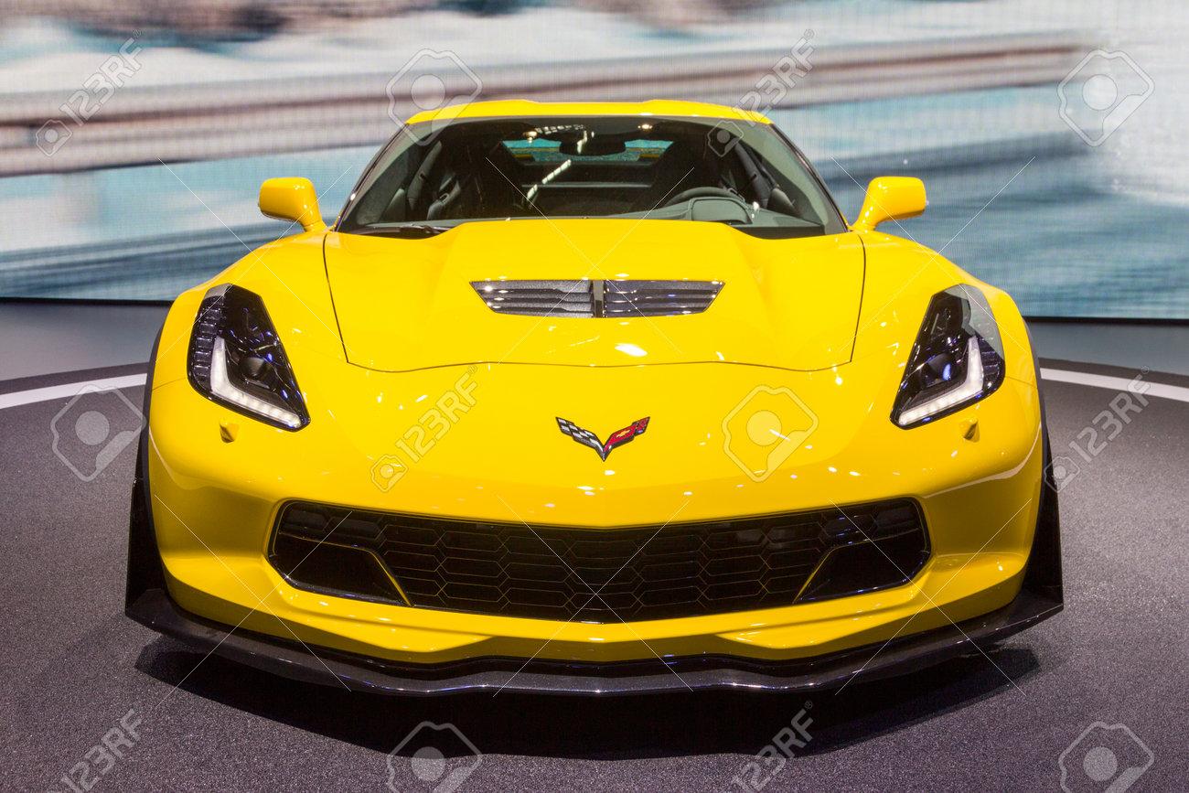 GENEVA, SWITZERLAND - MARCH 4, 2015: Corvette Z06 debuts at the 85th International Geneva Motor Show in Palexpo, Geneva. The Z06 is a high-performance version of the Chevrolet Corvette - 76807860