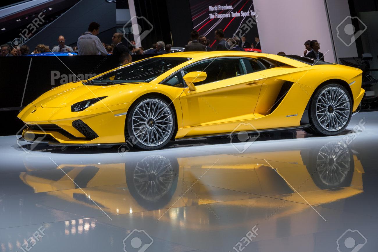 Geneva Switzerland March 7 2017 Lamborghini Aventador S Stock
