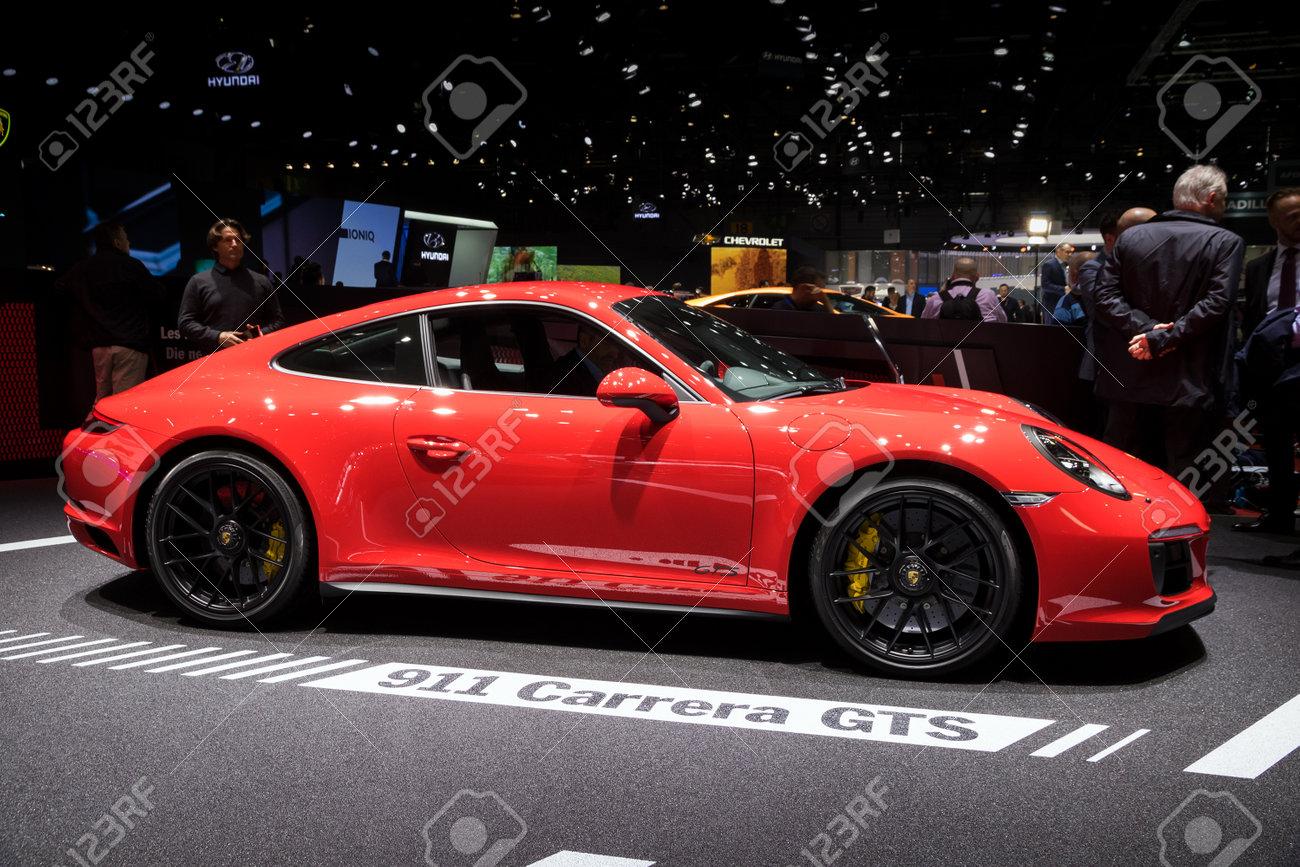 Geneva Switzerland March 7 2017 Porsche 911 Targa 4 Gts Stock