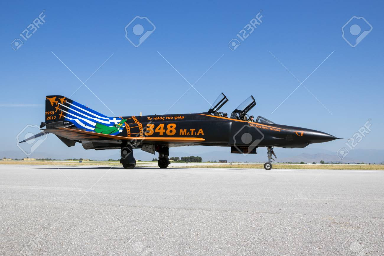 LARISSA, GREECE - MAY 4, 2017: Special painted Hellenic Air Force