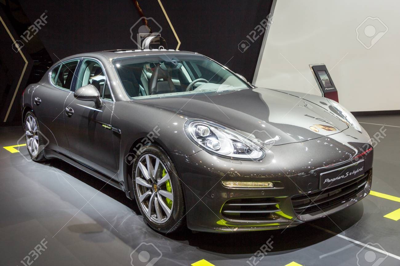 Brussels Jan 12 2016 Porsche Panamera E Hybrid Sports Car