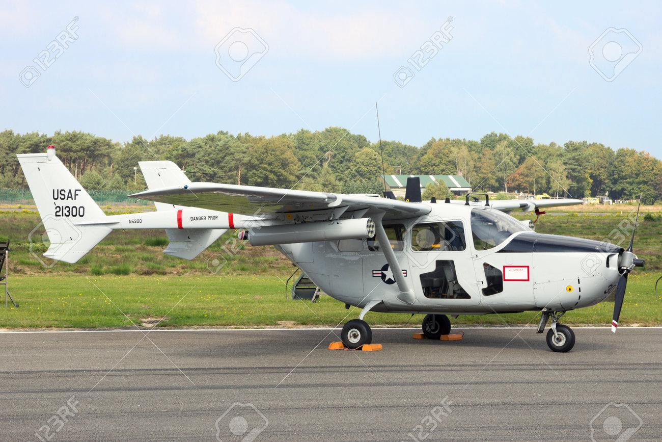 KLEINE BROGEL, BELGIUM - SEP 13, 2014: Cessna O-2 Skymaster aircraft