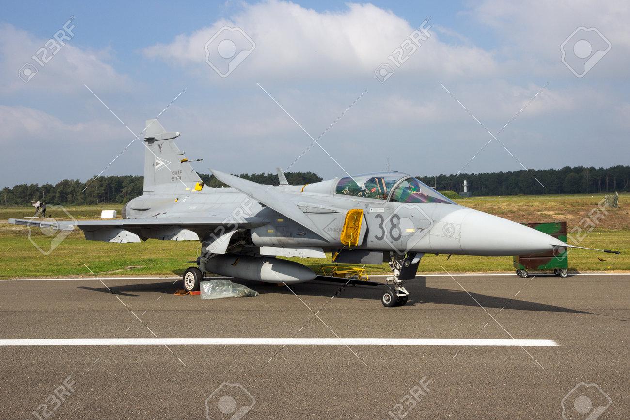 KLEINE BROGEL, BELGIUM - SEP 13, 2014: Hungarian Air Force SAAB