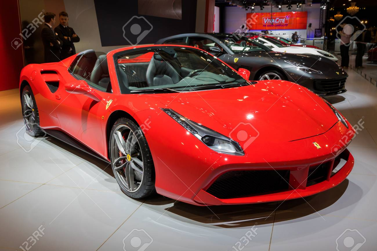 Brussels Jan 10 2018 Ferrari 488 Spider Sports Car Showcased Stock Photo Picture And Royalty Free Image Image 93912187