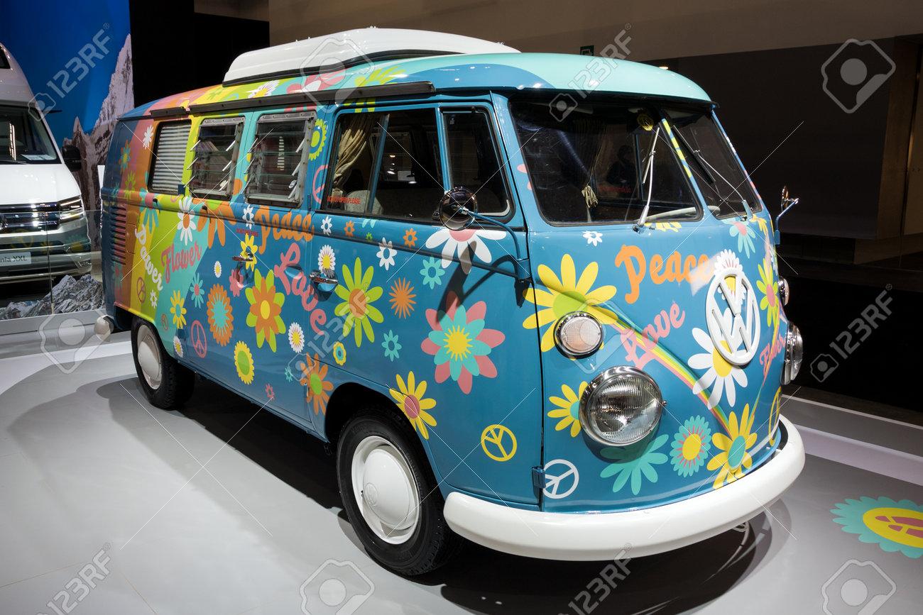 BRUSSELS - JAN 10, 2018: Flower Power Volkswagen Transport camper van shown at the Brussels Motor Show. - 94168142